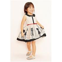 Vestido Para Niña De Gato Con Cinturon Moda Japonesa