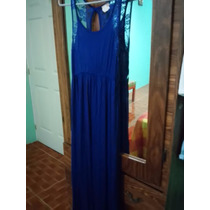 Hermoso Vestido Azul Rey Con Encaje En Espalda Mediana-grand