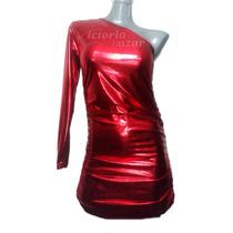 Vestido Metalico Un Hombro Descubierto
