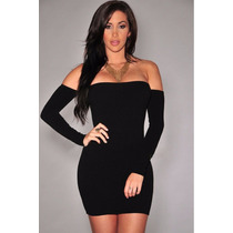 Moda Sexy Mini Vestido Negro Straple Con Mangas Table Dance