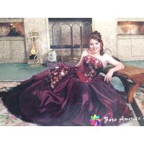 Vestido Para Fiestas, 15 Años Largo, Color Vino Con Negro .