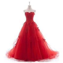 Baituya Vestido De Boda De Baile Largo De Calcomanía Rojo