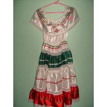 Folklórico Vestido Niña Talla 7/8 Años Septiembre Mes Patrio