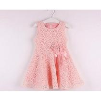Vestido Para Niña De Encaje Con Moño Rosa Moda Japonesa