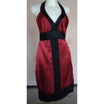 Vestido Halter Satinado Rojo-negro Talla Xs Vt203