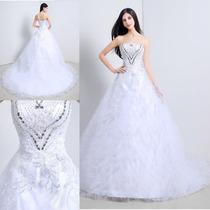 Vestido De Novia Largo Princesa De Piedras Tul Elegante