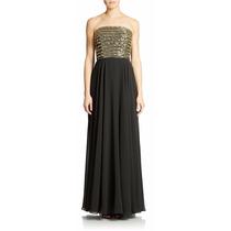 Vestido Largo Negro Dorado Bordado. Xscape. Talla 12