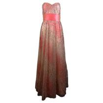 Vestido Fiesta Largo Noche Rosa Talla Grande 36 Seminuevo