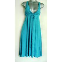 Vestido Casual Fresco Stretch Escote Amplio Azul Aqua M