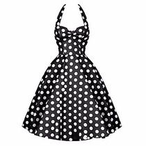 Vestido Vintage Pin Up Negro Con Blanco