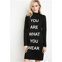 Forever 21 Vestido Midi You Are What You Wear Negro Mediana