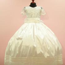 Vestido 1era Comunion Tafeta De Seda Niña Mod: D452