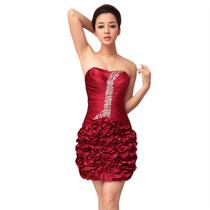 Baituya Vestido Corto Piesta Noche Boda Rojo