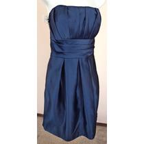 Vestido Azul Marino Satinado Strapless Fiesta Talla S Vt206