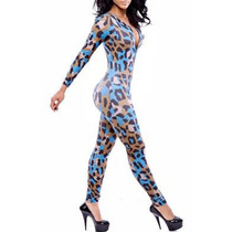 Moda Fiesta Sexy Body Animal Print Cierre Frente Table Dance