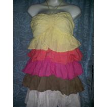 Hermoso Mini Vestido De Colores Olanes Limpia De Closet