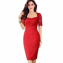 Vestido Rojo De Encaje, Talla Mediana