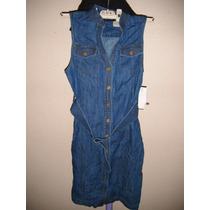 Vestido Midi Para Dama Talla 4p Color Azul De Mezclilla Nuev