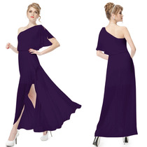 Baituya Un Hombro Vestido De Fiesta Púrpura Larga Fiesta Po