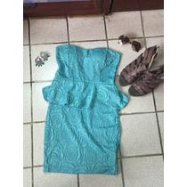 Vendo Vestido Peplum Shasa Talla M/g Color Turquesa