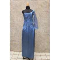 Vestido De Noche Una Sola Manga Azul Acero