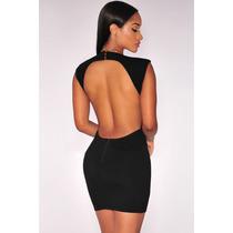 Moda Sexy Mini Vestido Fiesta Negro Espalda Descubierta