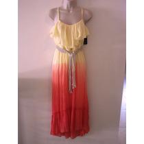 Maxi Dress Coral Con Cinto Bcx S Y M