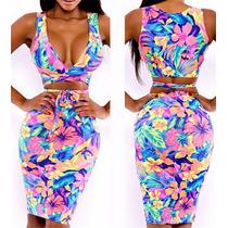 Mini Vestido 2 Piezas Estampado Floral T S-l Envgrat