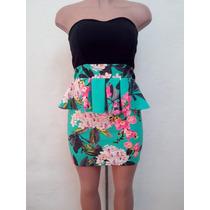 Moda Sexy Mini Vestido Negro Y Floreado Aqua Straples Holan