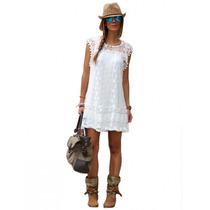 Vestido Encaje Casual Blanco Hermoso Superfemenino