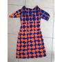 Vestido Corto Blusón Escote V Azul Naranja M
