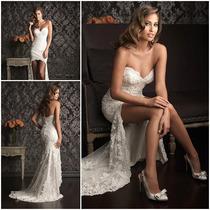 Vestido De Novia Boda Corto Largo De Encaje Elegante