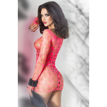 Moda Sexy Vestido Rosa Red Con Mangas Lenceria Table Dance