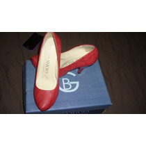 Zapatillas De Piel Color Rojo #3 Vbf