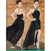 Vestido Negro Largo-corto Elegante Formal Ala Moda Sexy