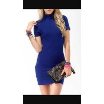 Vestido Azul Rey Forever 21 Talla Grande L Manga Corta