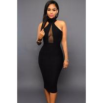 Sexy Vestido Negro Transparencias Escote Espalda Moda Fiesta
