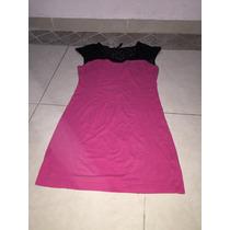 Vestido Blusón Rosa Bebe Fucsia Encaje Negro M Transparencia