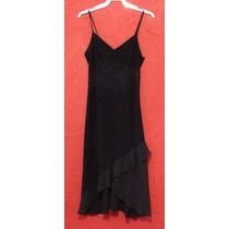 Vestido Gasa Negro Coctel Elegante Fiesta De La Mujer.
