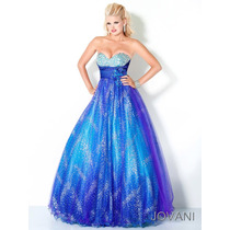 Vestido Fiesta Noche Xv Jovani Azul Talla 6 $530 Dlls