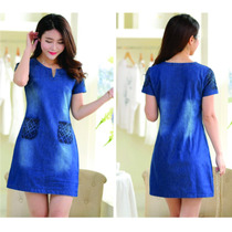 Hermoso Vestido De Mezclilla Corto Fresco Azul Bolsas Japon