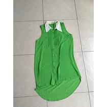 Vestido Camisero Gasa Corta Larga Verde Neon Shifon Forever