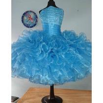 Vestido De Escarolas Para Salida De Sexto Año. Azul Turqueza