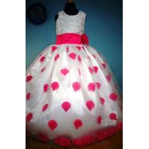 Vestido Para Niña Con Pétalos De Rosa Color Fiusha