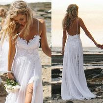 Vestido De Novia Boda En La Playa Encaje Y Chiffon