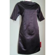 Vestido Corto Vera Wang Negro Cuello Ojal Talla 4 Chica