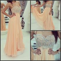 Hermoso Vestido De Noche Fiesta De Chiffon Elegante