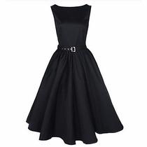 Vestido Vintage Rockabilly Negro, Talla Chica Y Mediana