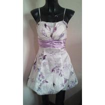 Vestido Primaveral Liz Minelli Casual Blanco Con Lila T S