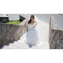 Hermoso Vestido De Novia Drapeado Tipo Princesa Color Ivory